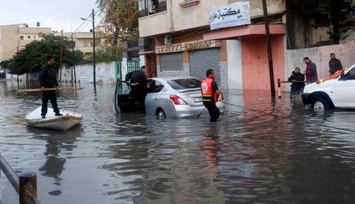 غرق عشرة منازل في غزة