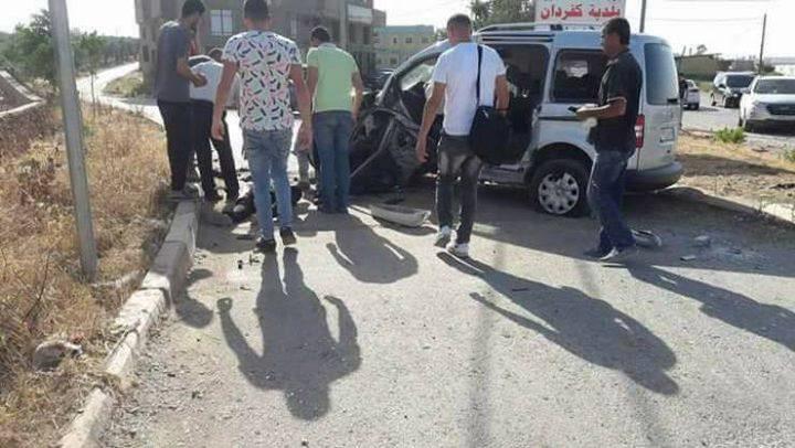 ثلاث إصابات في حادث سير غرب جنين