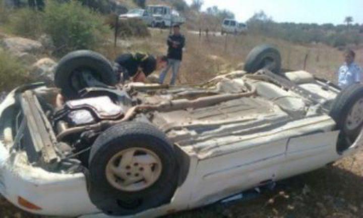 جنين: اصابتان بحادث انقلاب ذاتي لمركبة