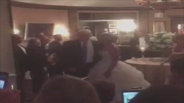 """ترامب يفاجئ عروسين خلال زفافهما بلا دعوة"""" فيديو"""""""