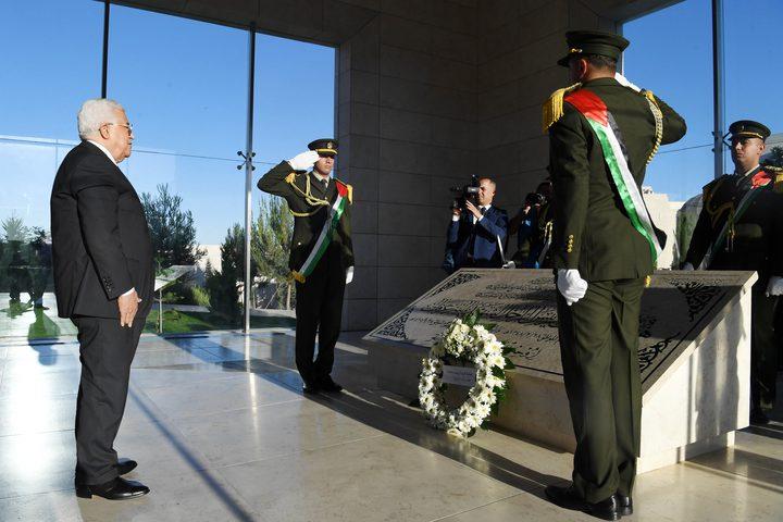 الرئيس يضع إكليلاً على ضريح الشهيد ياسر عرفات