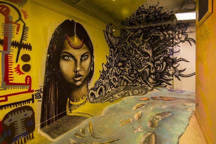 معلمة فرنسية تذهل طلابها بتحويل الجدران للوحات