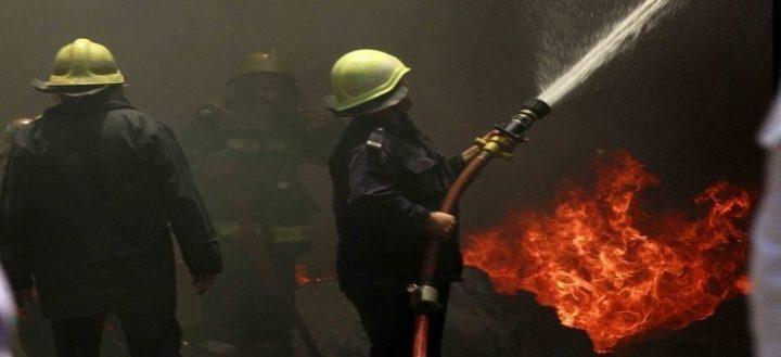 حريق في مطعم غرب نابلس