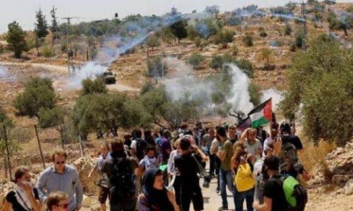 عشرات المواطنين يشاركون في مسيرة نعلين الأسبوعية