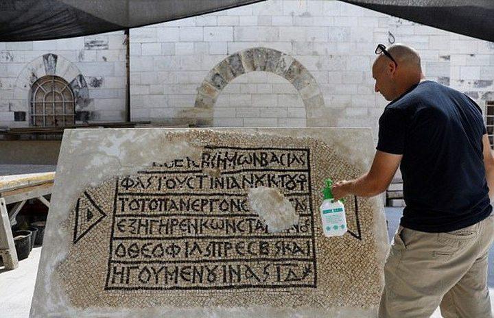اكتشاف لوحة فسيفساء عمرها 1500 عام في القدس