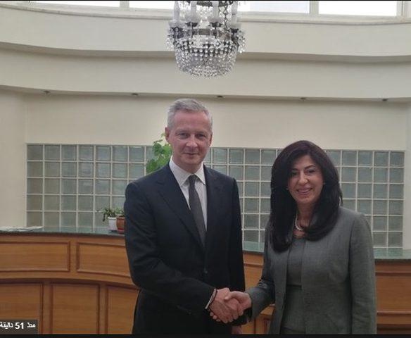 وزيرة الاقتصاد تبحث مع نظيرها الفرنسي سبل تطوير الاقتصاد الفلسطيني