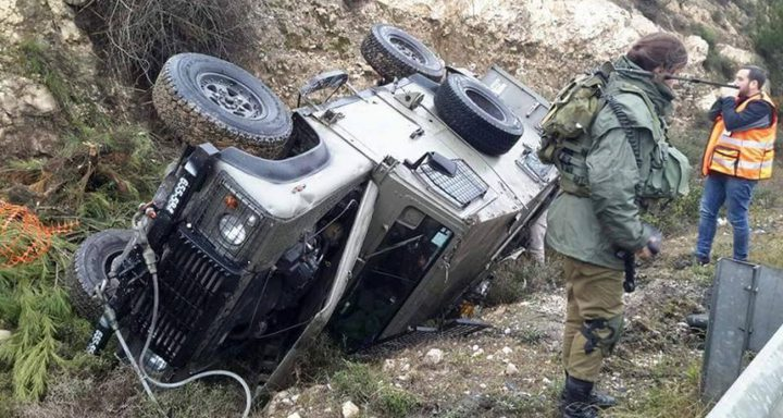 إصابة 4 من جنود الاحتلال جراء انقلاب جيب عسكري