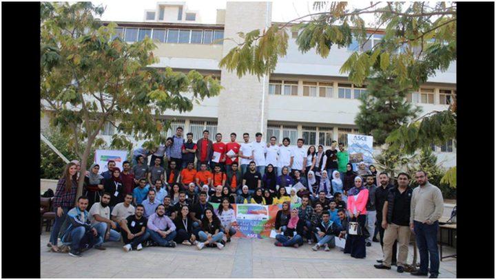 فريق جامعة النجاح يفوز بالمركز الثاني في مسابقة الجسور الخشبية بالأردن