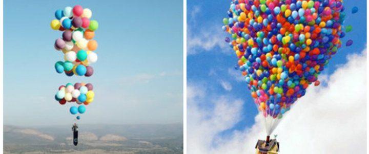 بريطاني يطير في السماء باستخدام 100 بالون!