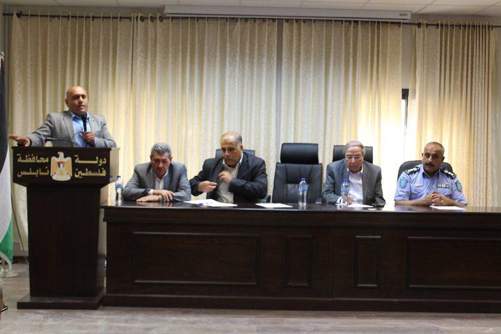 محافظ نابلس يعقد اجتماعا للتنديد بمئوية الوعد المشؤوم