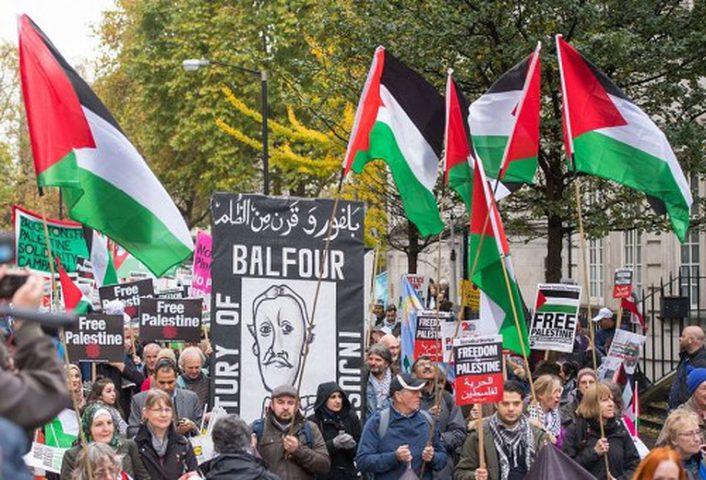الالاف يتظاهرون في لندن ضد وعد بلفور