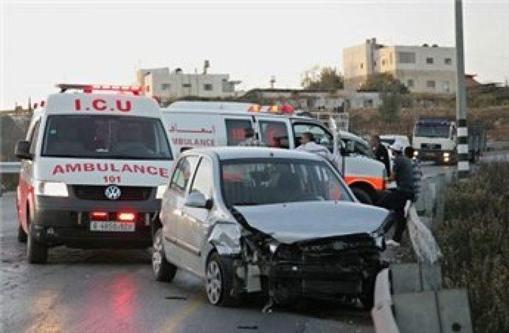الهلال الأحمر: إصابة 8 مواطنين في حوادث سير متفرقة في جنين