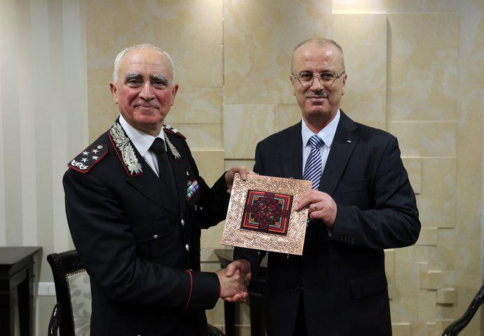 الحمد الله يستقبل القائد العام لقوات الكاربنيري الايطالية