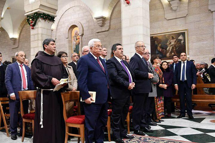 الرئيس يشارك في قداس منتصف الليل في كنيسة القديسة كاترينا ببيت لحم