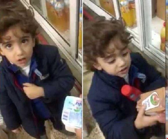 شاهد  طفل فلسطيني يرفض شراء منتجات إسرائيلية