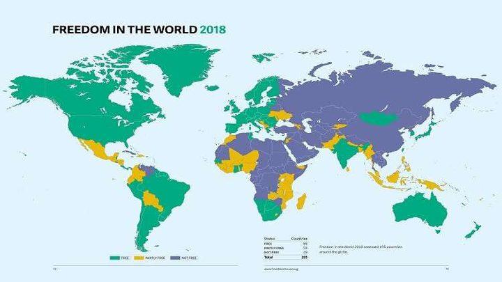 """""""فريدوم هاوس"""": تونس الأولى عربيا والسعودية وسوريا الأسوأ على صعيد الحريات"""