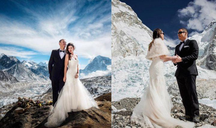 أغرب زفاف يقام على أعلى قمة في العالم