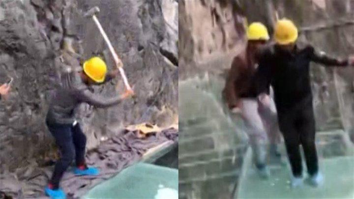 فيديو مخيف لمحاولة تحطيم ممرّ زجاجي في الصين!