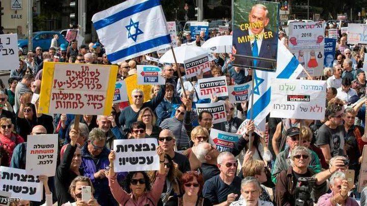 """آلاف الإسرائيليين يهتفون ضد نتانياهو: """"باي باي بي بي"""""""