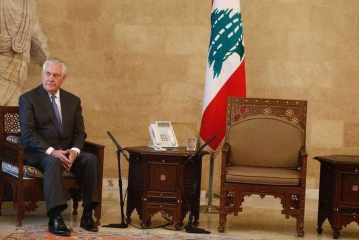 """صحيفة لبنانية تكشف كيف رد """"تيلرسون"""" على الموقف المحرج له في القصر الجمهوري"""