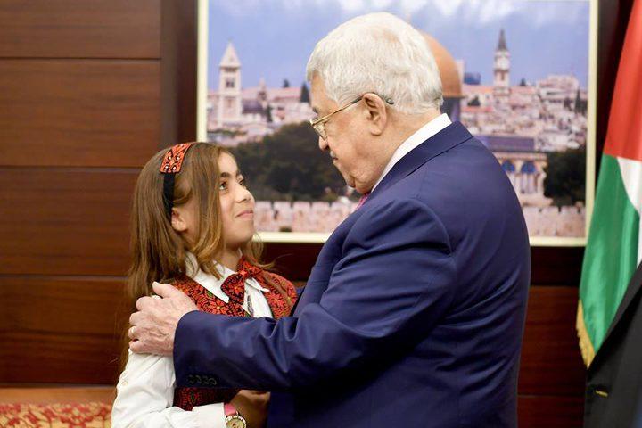 الرئيس يستقبل الطفلة انعام العطار وعائلتها