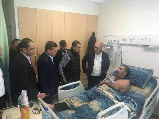 اللواء ماجد فرج يزور أفراد وضباط الأمن الذين أصيبوا خلال انفجار موكب الحمدالله