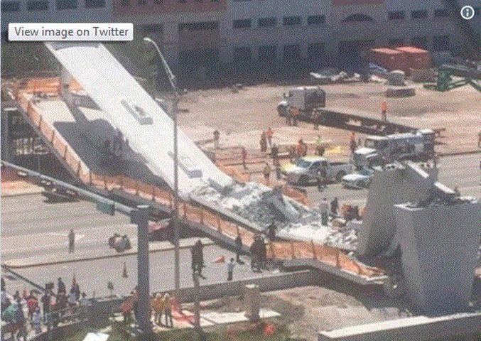انهيار جسر للمشاة في فلوريدا وأنباء عن سقوط قتلى وجرحى