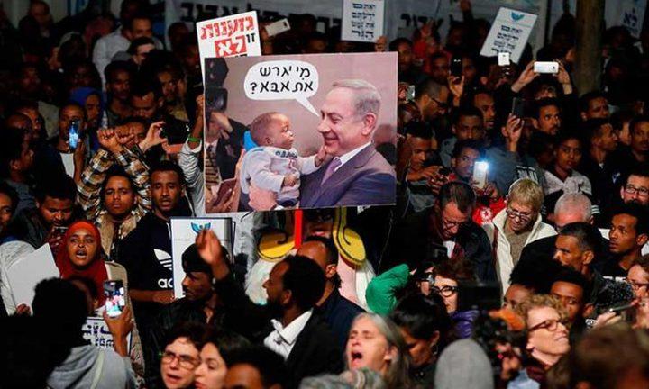 الآلاف يتظاهرون في تل أبيب احتجاجا على طرد اللاجئين الأفارقة
