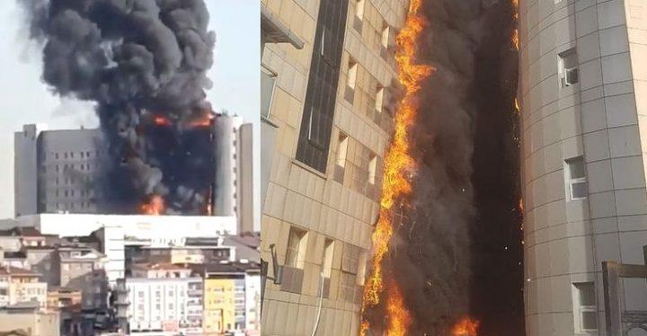 فيديو: حريق ضخم يلتهم مستشفى في إسطنبول