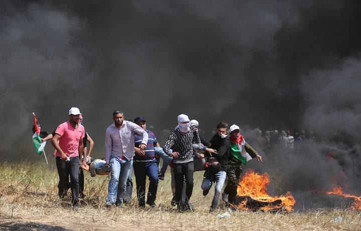 إصابة 6 مواطنين بينهم مسعف على حدود غزة
