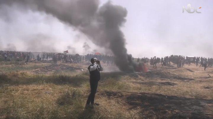 """إطارات مشتعلة في جمعة """"الكوشوك"""" بقطاع غزة (فيديو)"""