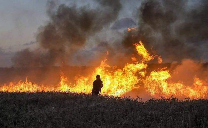 حريق بالاحراش داخل الأراضي المحتلة شرق جحر الديك جنوب غزة
