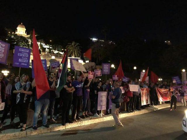 تظاهرة جديدة في مدينة حيفا المحتلة نصرة لغزة والقدس