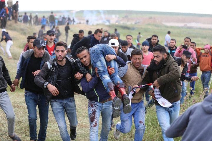 محدث_ ارتفاع عدد الاصابات خلال قمع الاحتلال مسيرة العودة شرق غزة إلى 109 مصابًا