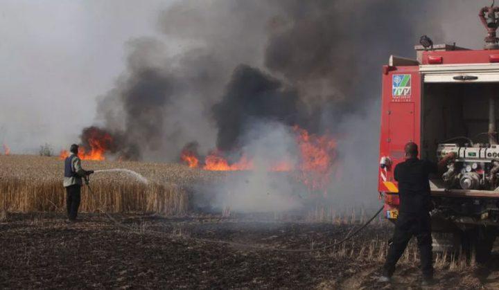 اندلاع حريق في حقول القمح داخل السياج الفاصل شمال القطاع