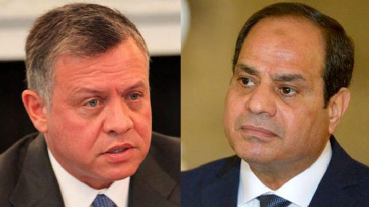 الرئيس السيسي والملك عبدالله يبحثان تطورات القضية الفلسطينية