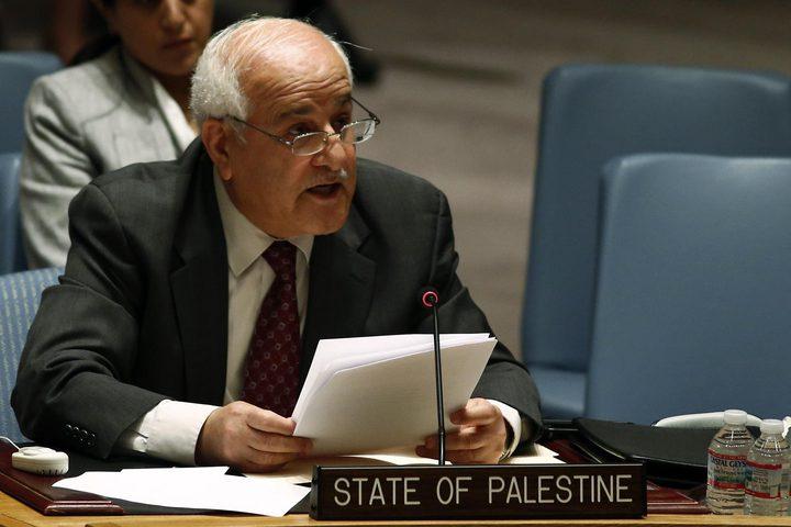 """منصور: اجتماعات حثيثة لتحديد خطوات التحرك بعد """"الفيتو"""" الأميركي في مجلس الأمن"""