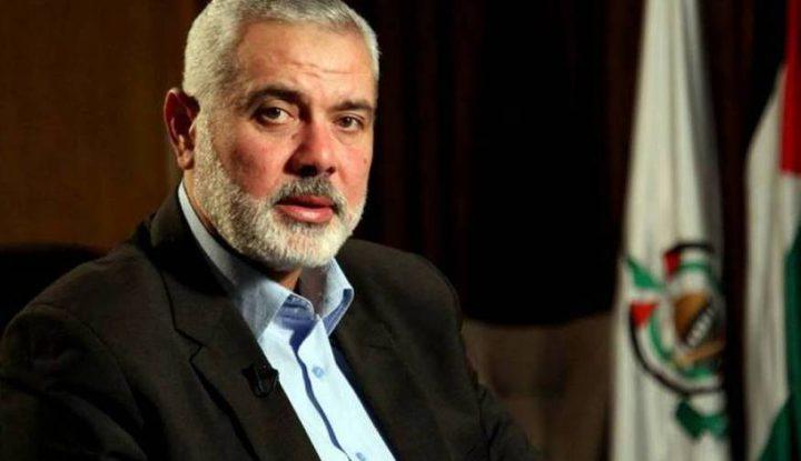 هنية يدعو الى الانخراط في مسيرة العودة الكبرى على حدود غزة