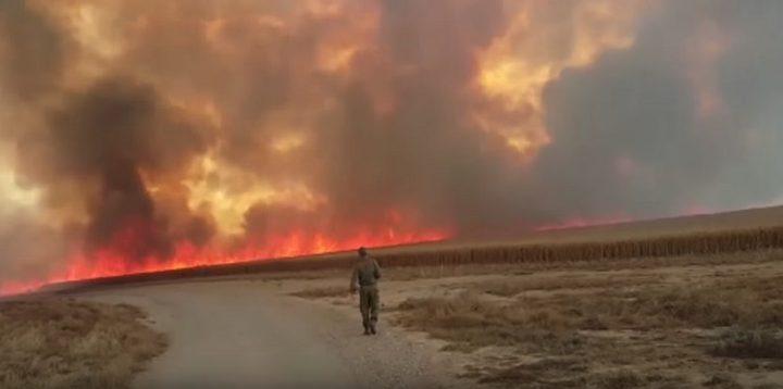 اندلاع 11 حريقاً داخل السياج الفاصل شرق قطاع غزة بفعل الطائرات والبالونات الحارقة