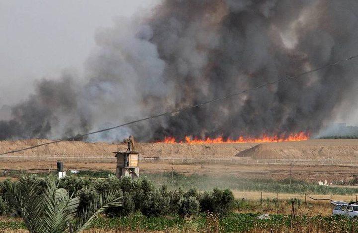 مئات الحرائق واشتعال الاف الدونمات في غلاف غزة