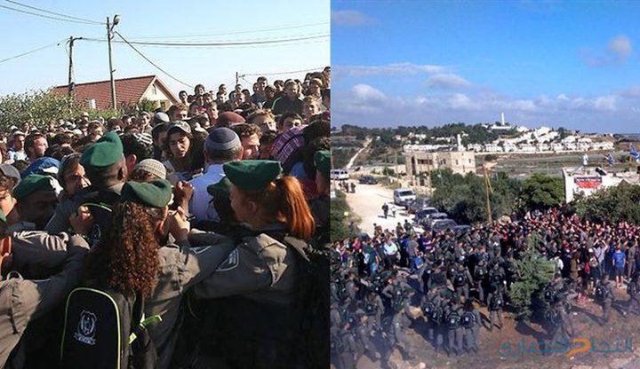 إصابة 11 من أفراد شرطة الاحتلال خلال اخلاء بؤرة استيطانية