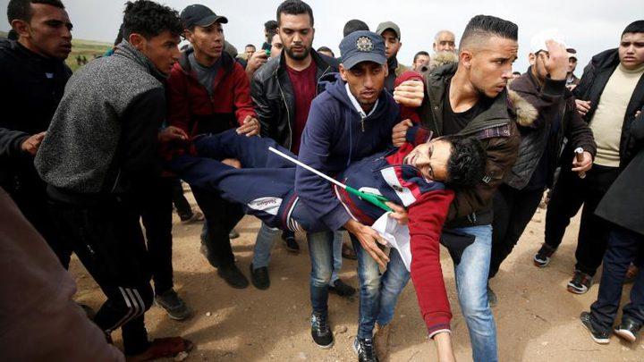 35 إصابة في جمعة الوفاء للجرحى على حدود غزة