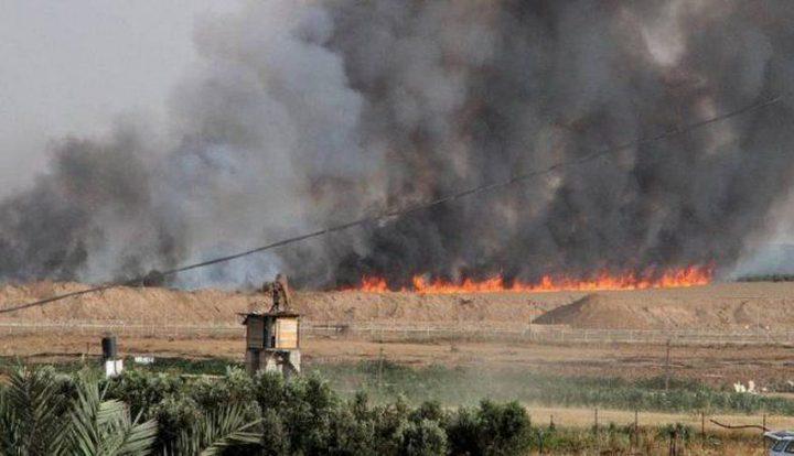 مستوطنون يتسببون بحرق 120 دونماً من أراضي قرية صفا