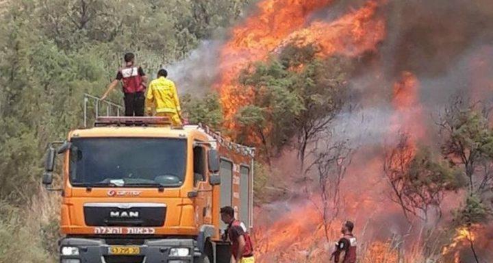 خمس حرائق في المستوطنات المحيطة بغزة بفعل البالونات الحارقة