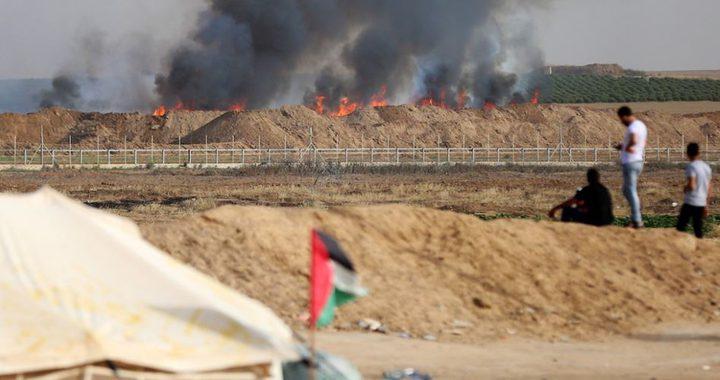 24 حريقاً في مستوطنات غلاف غزة بالبالونات الحارقة