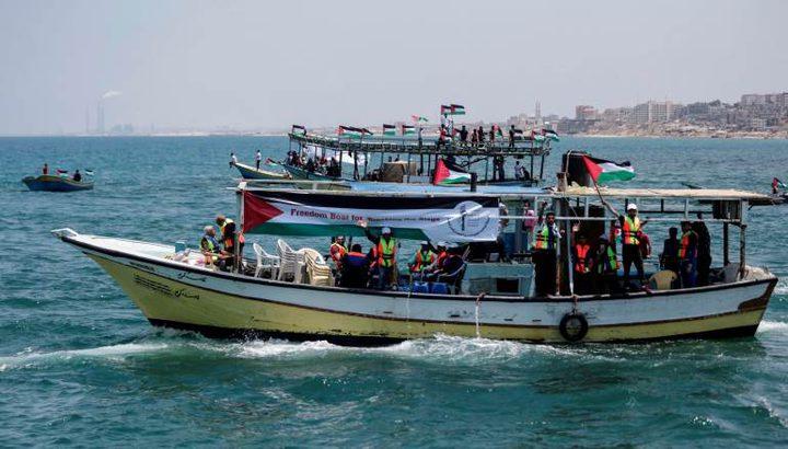 سفينة حرية لكسر الحصار على بعد 20 ميل من غزة