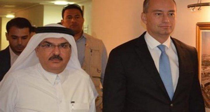 وزير خارجية قطر وملادينوف يبحثان التطورات بغزة
