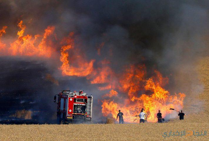 11 حريقًا في المستوطنات المحيطة بقطاع غزة