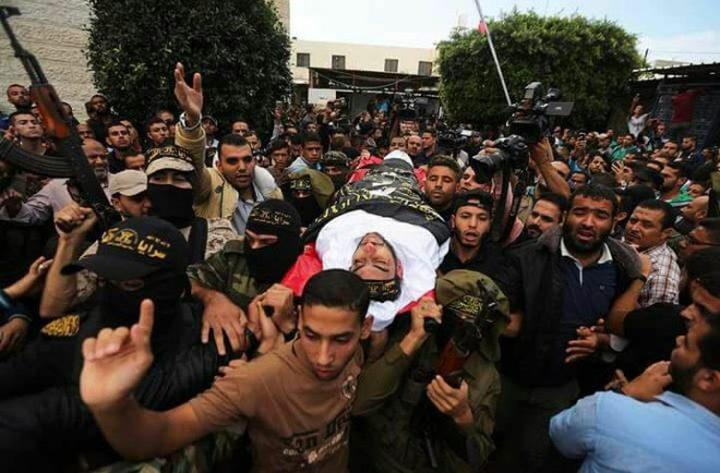 تشييع جثامين شهداء غزة الذين ارتقوا امس