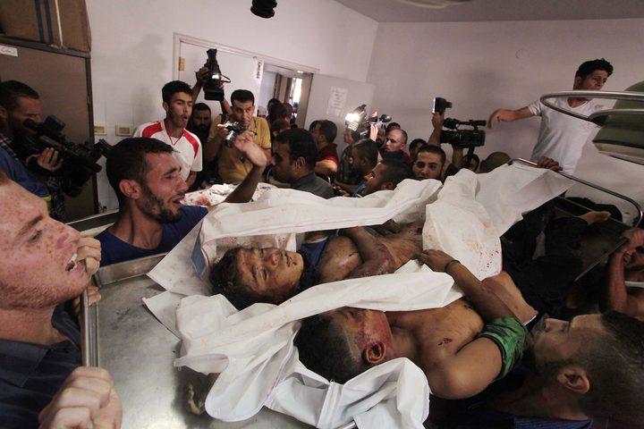 أجساد الشهداء بعد قصف الاحتلال لهم